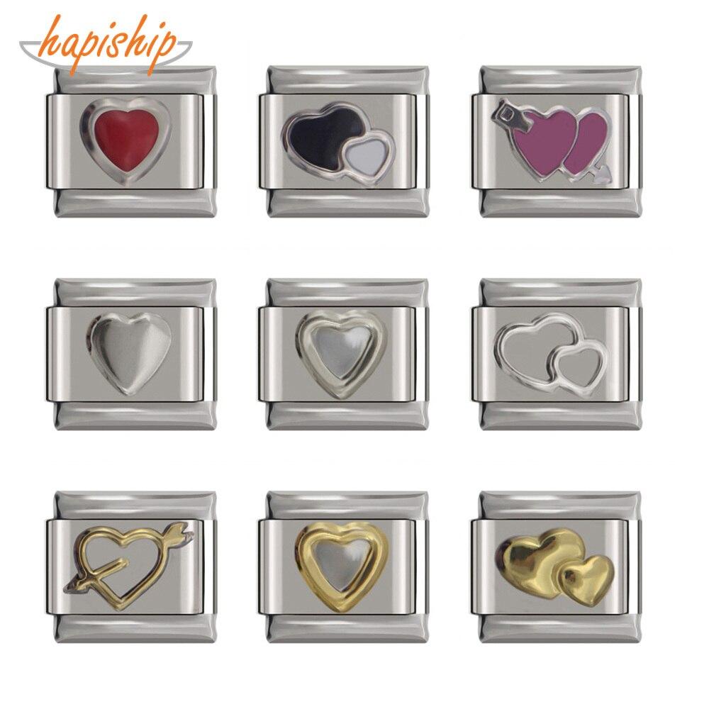 Hapiship 1Pcs 9mm Width Original Daisy Cute Nice Gold Silver Color Heart Charm Fit Bracelet Stainless Steel Jewelry Making DJ132