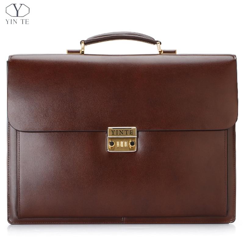 826c8665d19 Hoge kwaliteit beroemde merk mannen aktetas lederen laptoptas ...