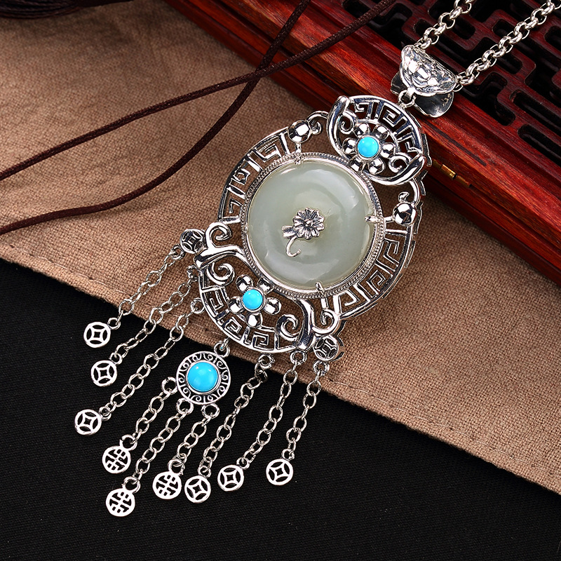 Vitnage Amulet Large Tassel Pendant For Sweater Chain Natural Jade And Turquoise Gemstone With Hollow Lotus Flower Coin Design