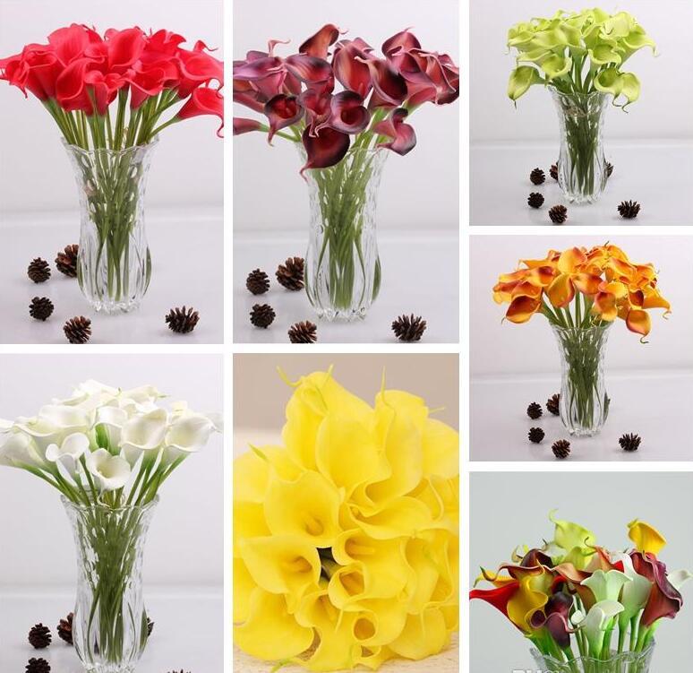 Latex kala lilie pu květiny nevěsta květiny 8 barev PU skutečný dotek žlutá mini kala lilie pro svatební kytice Doprava zdarma HP008