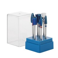 MAKARTT Nail Drill Bits Set 7Pcs Blue Color Tungsten Carbide Acrylic Nail File Drill Bit Manicure Pedicure 3/32 F0701