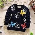 Bebê roupas 2016 primavera de manga comprida Mickey meninos hoodies camisolas de moda outerwear crianças casaco frete grátis