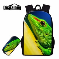 Dispalang animal backpack pattern lizard school bookbags for primary students cool bagpack pencil case children mochila rucksack