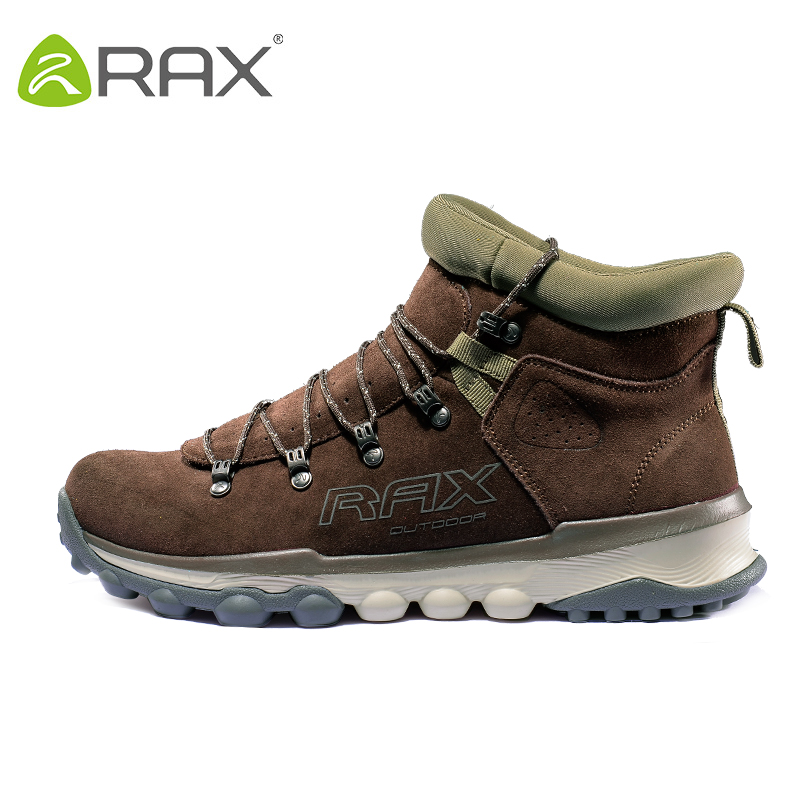 RAX Men Women Genuine Leather Hiking Shoes Outdoor Waterproof Warm Sneakers Breathable Outdoor Sports Shoes Men Walking Sneakers yin qi shi man winter outdoor shoes hiking camping trip high top hiking boots cow leather durable female plush warm outdoor boot