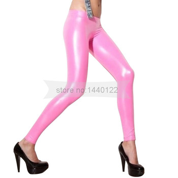 Women sexy Pearly Pink latex trouser for woman  handmade natural rubber skinny pants plus size Hot sale custom made BNLTW063