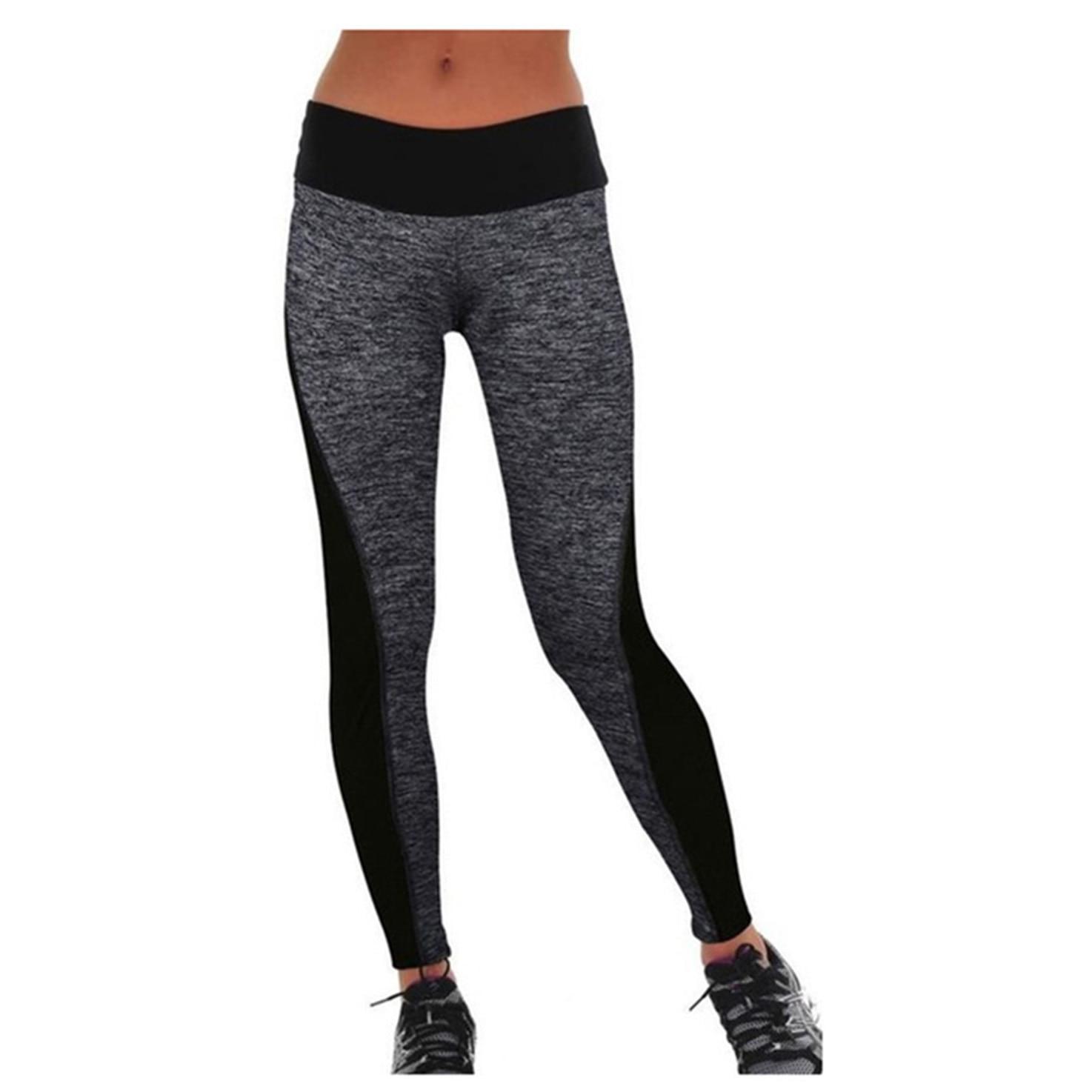 Date Femmes Gris Et Noir Lambrissée Doux Plus Minceur Pantalon Leggings  Pour la Course Yoga Sport 00b7cf18ce25