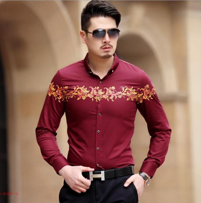 Mode De Noir Motif Hommes Or Sociale rouge Fleur Chemises Fit D'affaires Masculina Top Casual Baroque Vêtements Slim Luxe 2017 Camisa Imprimer qfzPP