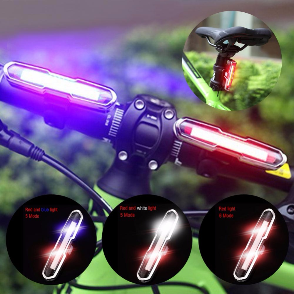 Dual Color USB Rechargeable COB LED Bike Bicycle Light Mountain Cycling Bicycle Safety Rear Tail Lamp Portable Spotlight