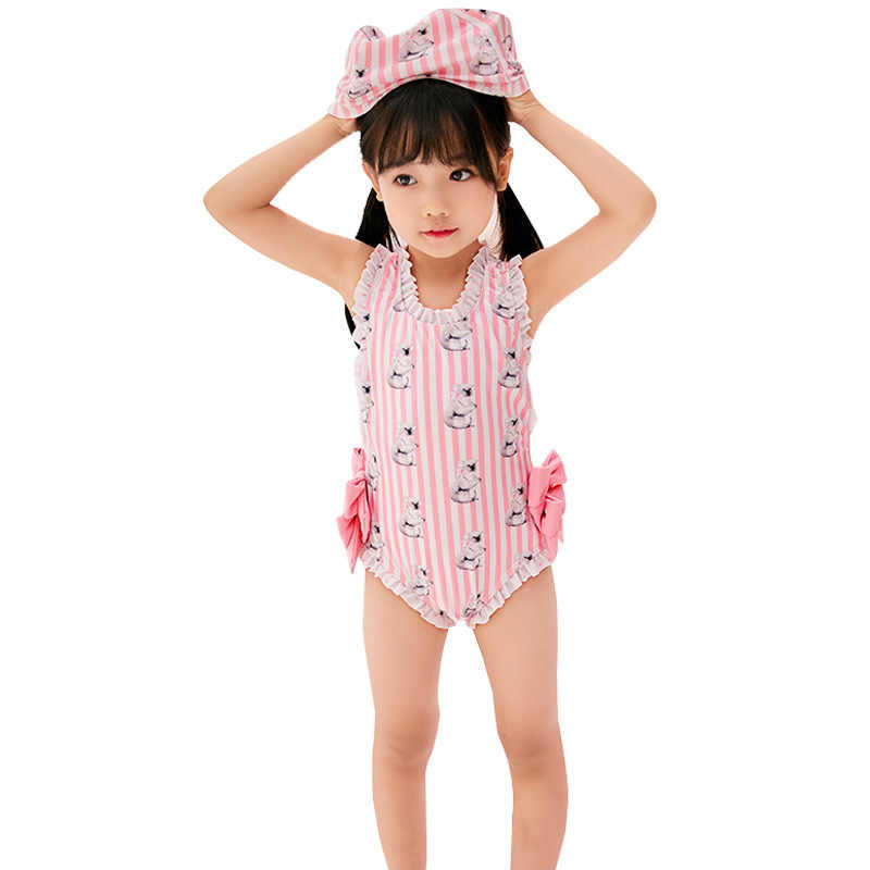 7c4cf9255a9f7 Baby Swimwear Girls Cartoon Pattern 2-12 Years old Kids Bikini one piece  Swimsuit Children