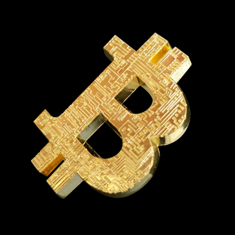Gold Plated Bitcoin Coin Collectible Gift Three-dimensional Hollow Bit Coin Art Collection Physical Gold Commemorative Coins