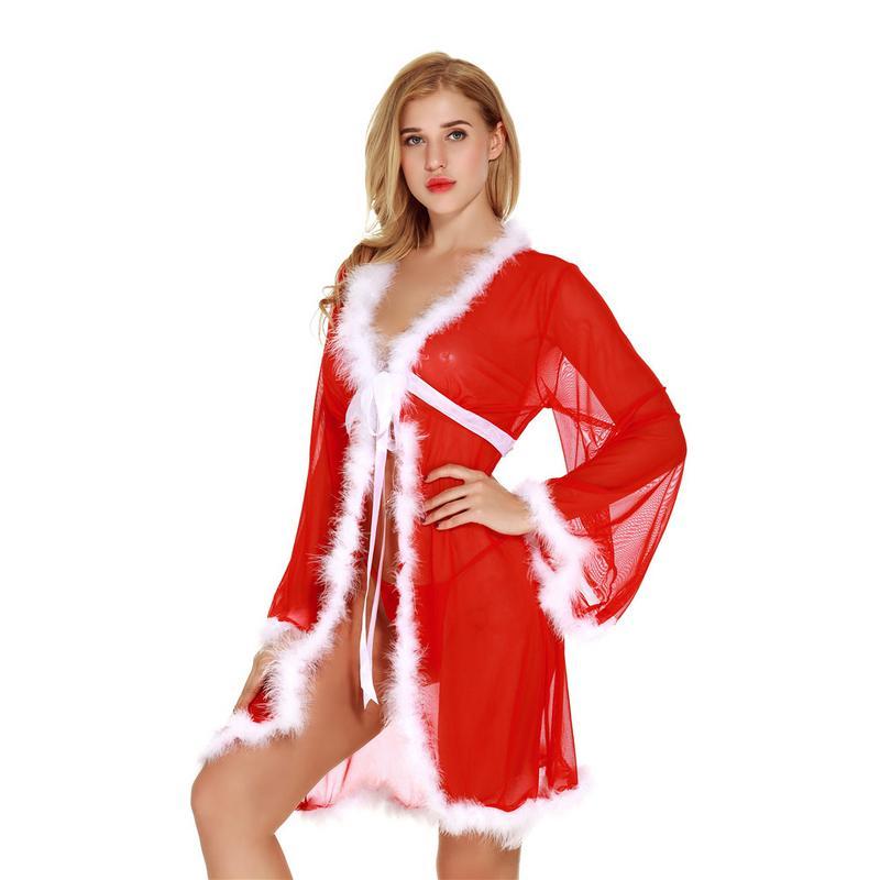 Christmas Holiday White Fuzzy Fur Trim Red Kimono Robe with