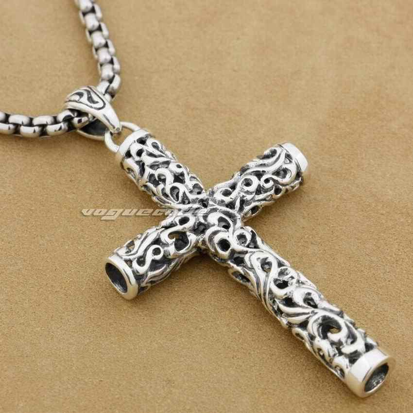 ขาย!! LINSION กระบอก Cross 925 Sterling Silver Mens Biker Rocker Punk จี้ 9F018