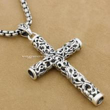 LINSION Cylinder krzyż 925 srebro mężczyzna Biker Rocker Punk wisiorek 9F018