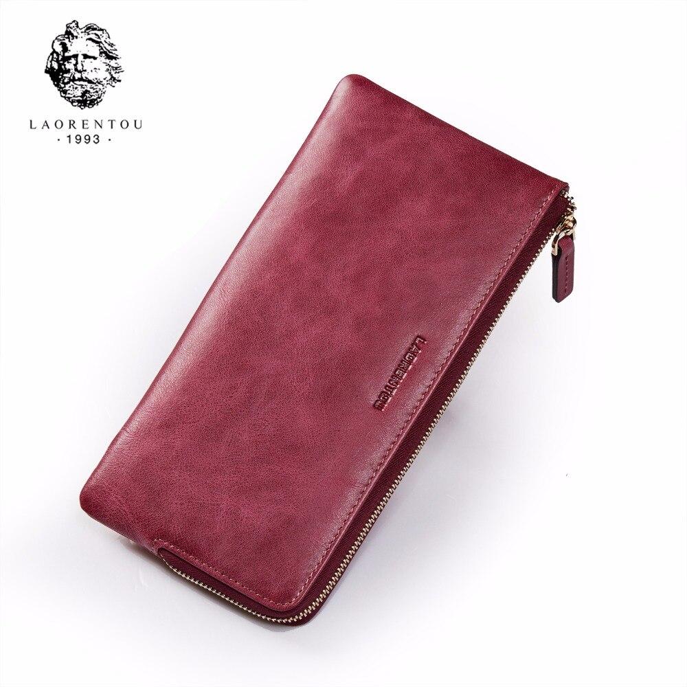 LAORENTOU Genuine Leather Lady Wallet Designer Brand Fashion Women Wallets Leather Women Purse With Phone Pocket
