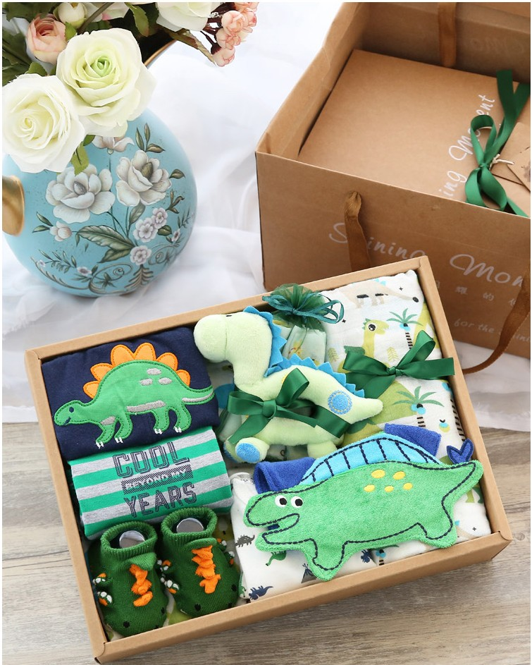 Free shipping 1 set baby shower boy green dinosaur jumpsuit trousers socks plush toys birth party gifts babyshower gift boxes