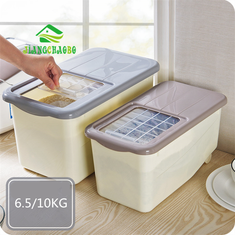 JiangChaoBo Thick Rice Pest Barrel Kitchen Plastic Rice Box 10kg Moisture Food Vegetables Stockholders Boxed Rice Storage Box