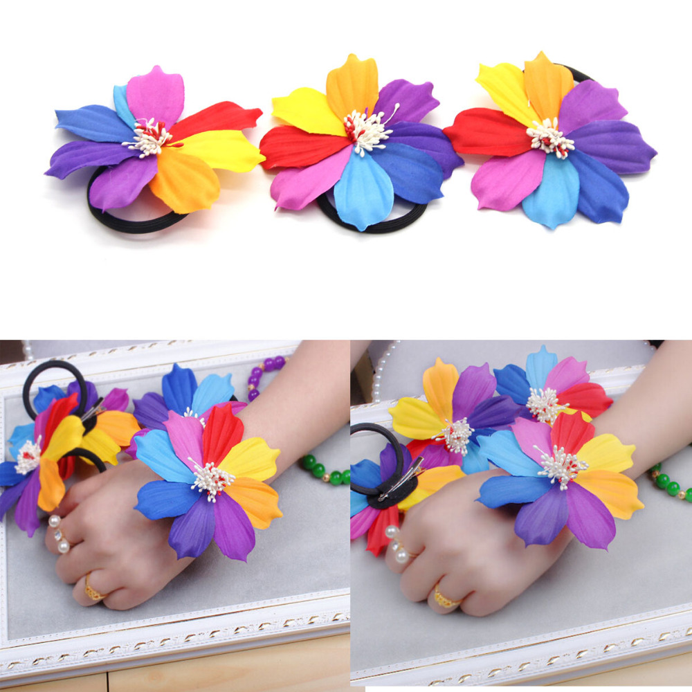 Womens Flower Ponytail Holders Hair Rope Circle Ring Headwear Hairpin Accessory Attractive Fashion Apparel Accessories