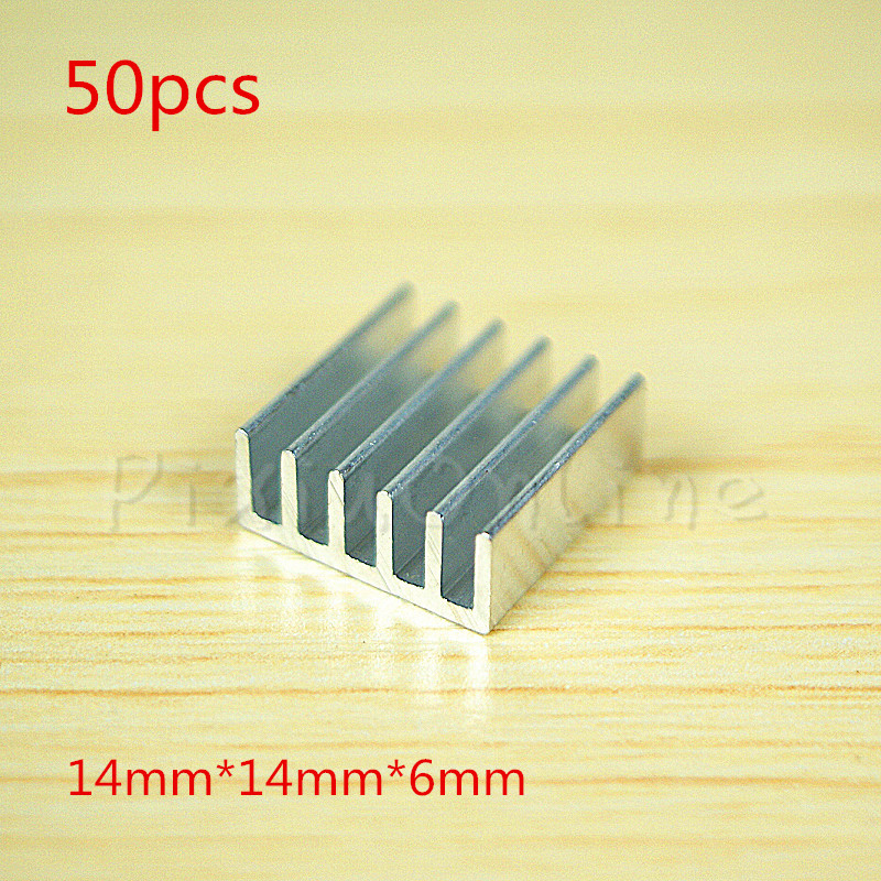 50Pcs ST042b 14*14*6MM Aluminum Heatsinks Chip Small Electronic Radiator Thermal Fin Heat Conduction Block Tool 10pcs lot ultra small gvoove pure copper pure for ram memory ic chip heat sink 7 7 4mm electronic radiator 3m468mp thermal