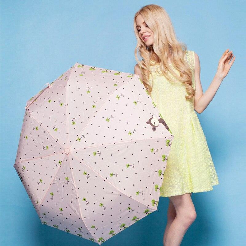 무료 배송 우산 비 여자 세 접는 자동 열기 Windproof 안티 UV 사슴 완전 Aotumatic 여성 우산