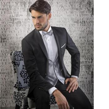 hot sell men suit Black Groom Tuxedos Shawl Lapel Best Mens Wedding Christmas Prom Dinner Suits (Jacket+Pants+Vest+Tie)
