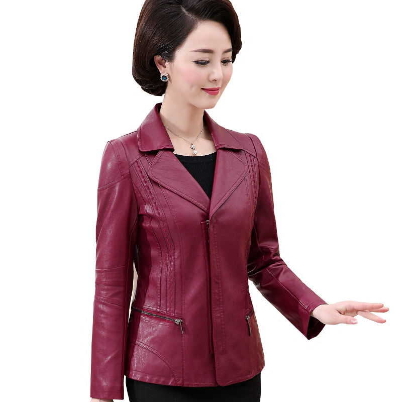 Plus Size 6XL Spring   Leather   Jacket Women Chaqueta Mujer Middle Aged Short PU   Leather   Jacket Motorcycle Bomber Jacket Coat C4148