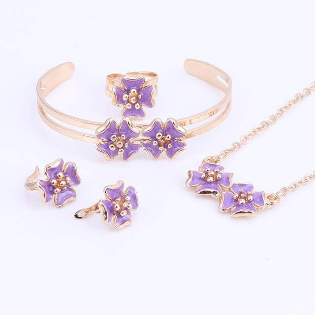 Gold Color Enamel Flower Necklace Bangle Bracelet Ring Set For Children Kids Costume Jewelry Sets 5color