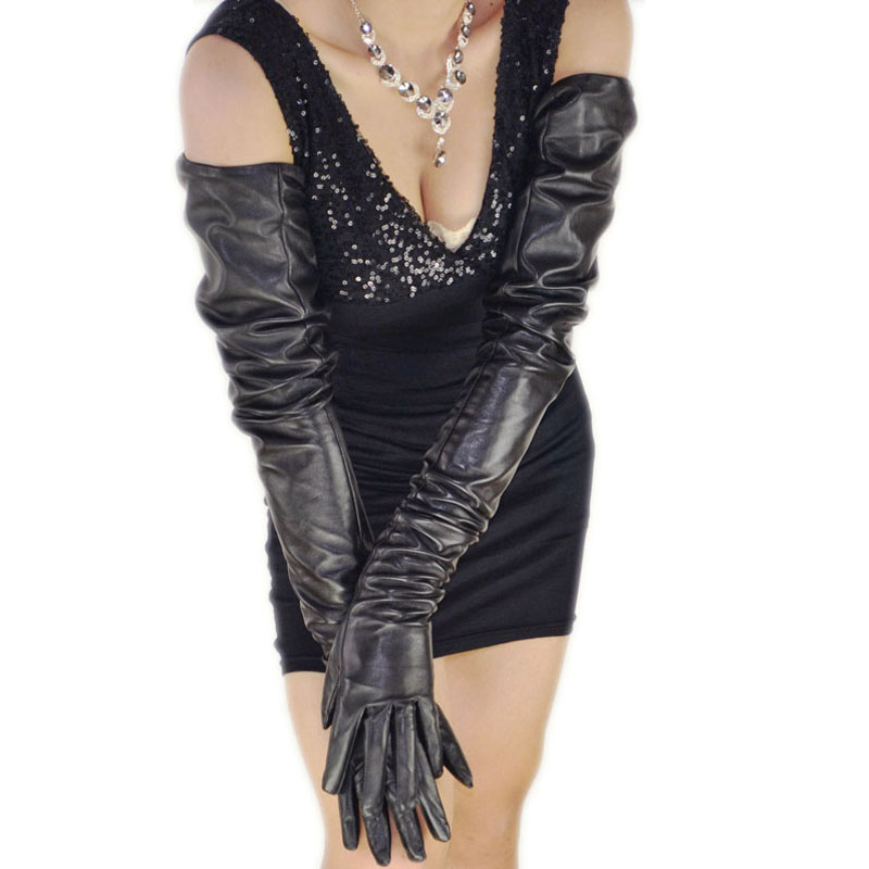80cm 31 5 long plain super shoulder length one whole piece sheep leather opera gloves black