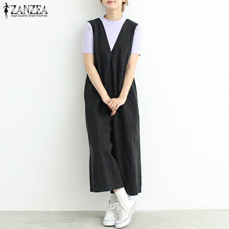 ZANZEA Vintage Women Dungarees V Neck Sleeveless Casual Loose Solid Jumpsuit Rompers Summer Wide Leg Pants Overalls Plus Size