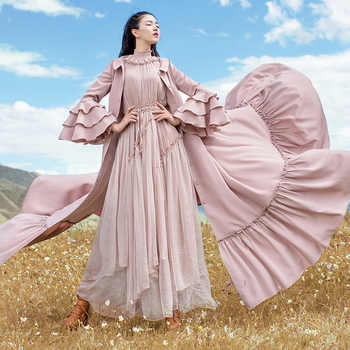 Free Shipping 2019 Fashion Women Long Maxi Long Ruffles Sleeve Trench Dresses Autumn Boshow Single Breasted Dress With Belt S-L - DISCOUNT ITEM  15% OFF All Category