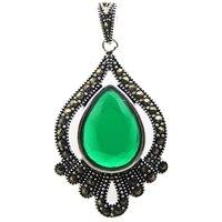 Darmowa wysyłka Markazyt Śliczne Teardrop Fasetkowy Zielony Kryształ 925 Sterling Silver Wisiorek 40*20mm
