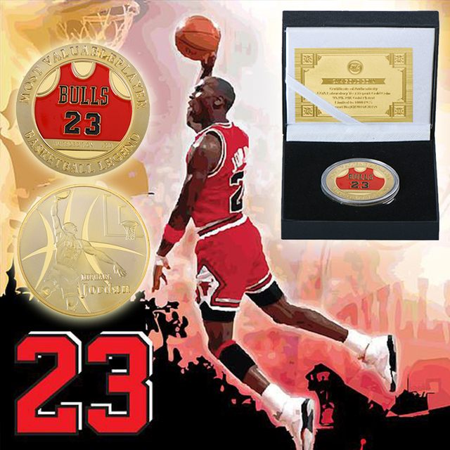 646040f70cba Bulls Mo.23 Michael Jordan Gold Plated Coins Collectibles Most Valuable  Player Gold Metal Coins For Christmas New Year Gifts