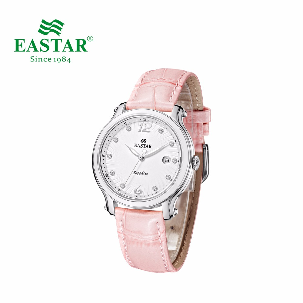 Eastar Elegant Women Rhinestone Watch Fashion Pink Strap Couple Quartz Wristwatch Luxury Diamond Gold Silver Case Clock