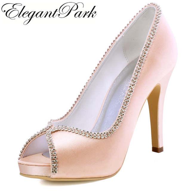 51dd0d94c Mulher Sapatos Sapatos de Casamento plataforma de salto Alto de noiva Blush  Rosa de Cetim da