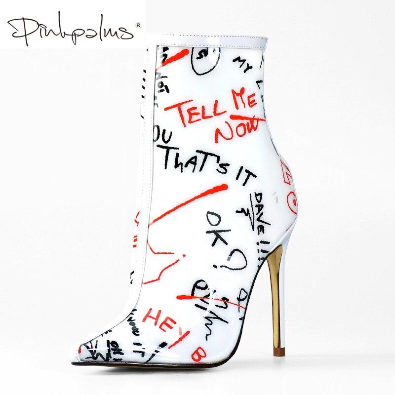 Różowy Palms botki dla kobiet wiosna jesień wysokie obcasy pleksi wodoodporne buty jasne pcv białe Graffiti kobiety kostki buty w Buty do kostki od Buty na  Grupa 1
