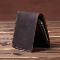 Vintage Men wallets Genuine Leather Wallet Men Purse male wallet zip around Short money bag Coin Bag Money Holder Brown Vertical