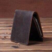 Vintage Men wallets Genuine Leather Wallet Men Purse male wallet zip around Short money bag Coin Bag Money Holder Brown Vertical