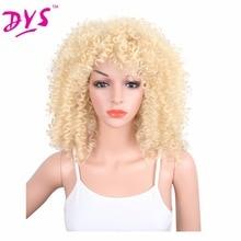 Deyngs Kinky Curly Synthetic Parykar Med Bangs 20inch Natur Svart Svart Röd Brun Blond Paryk För Svart Kvinnor Pelucas Medium Längd