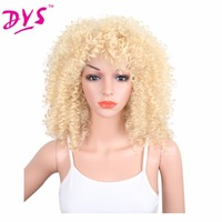 Deyngs Kinky Curly Synthetic Wigs With Bangs 20inch Natural Black Red Brown Blonde Wigs for Black Women Pelucas Medium Length