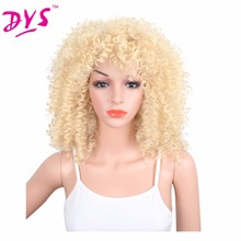 Deyngs Kinky Curly Synthetic Wigs With Bangs 20inch Natural