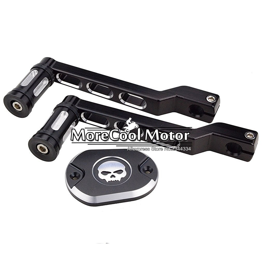 ФОТО Motorcycle Edge Cut Heel Toe Gear Shift Lever Shifter Peg + Skull Black Fuel Tank Cover Oil Pump For Harley Scooter