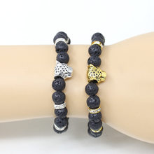 Golden Silver Leopard Lion Charms Natural Volcanic Rocks Matal Annuluses Buddha Beads Bracelets For Women Men(China)