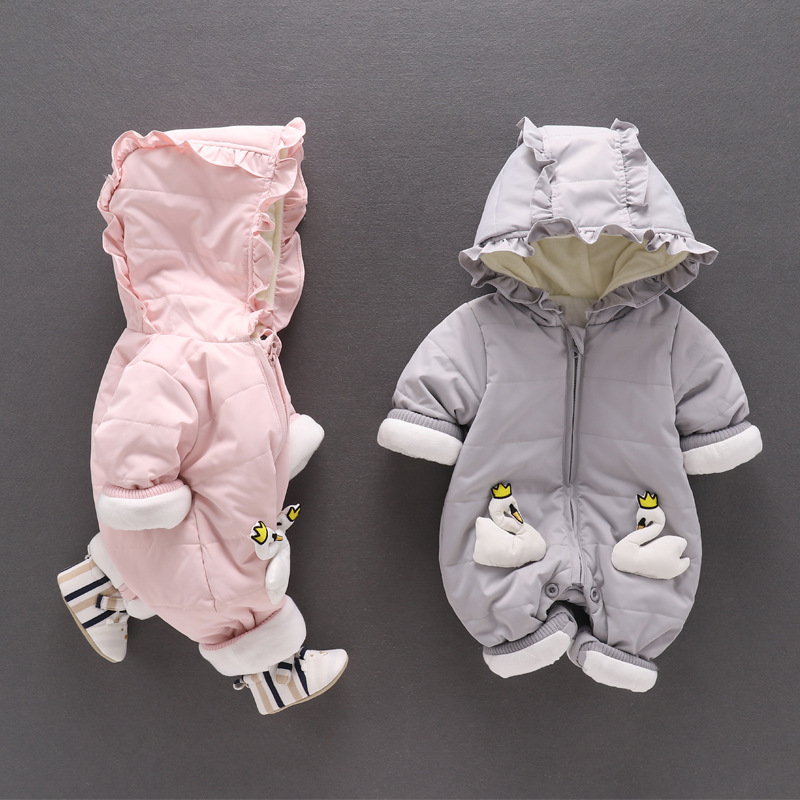 Baby girl romper winter thick warm cartoon swan Ruffle Ruched hoodie newborn baby outwear solid pink gray color baby clothing pink swan 100