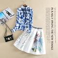 Nueva Primavera Verano Conjunto de Manga Larga Gira el Collar Abajo Imprimir Blusa Y vestido de Bola de Lentejuelas Falda Mujeres 2 Unidades