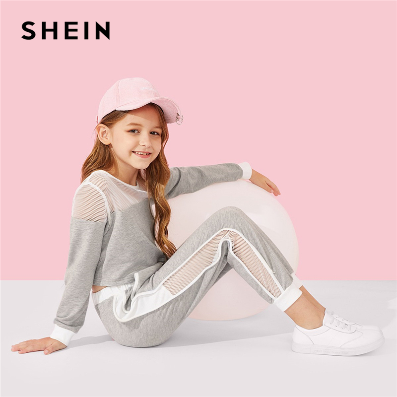 Фото - SHEIN Kiddie Grey Active Wear Mesh Top And Tape Side Pants Suit For Girls Clothing 2019 Spring Casual Kids Clothes Girl Set tape side velvet sweatpants