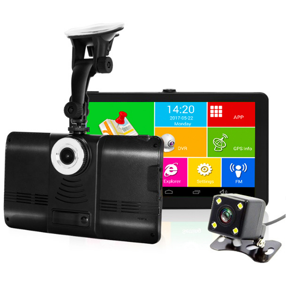 7 Inch Capacitive Car DVR Camera GPS Navigator Recorder Android GPS Navigation WIFI FM Truck GPS Sat Nav 8GB Free Map Toruist