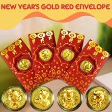 Au 999 золотые конверты для денег зодиака свинка пакеты Изысканный кошелек юбилей высококлассные украшения для дома в китайском стиле Новогодняя свадьба
