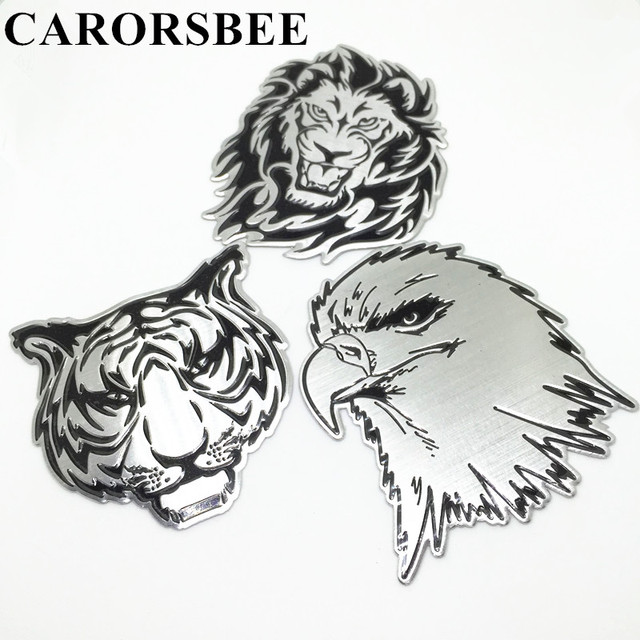 Carorsbee 3d aluminum animal pattern totem auto stickers emblem badge decal eagle tiger lion car