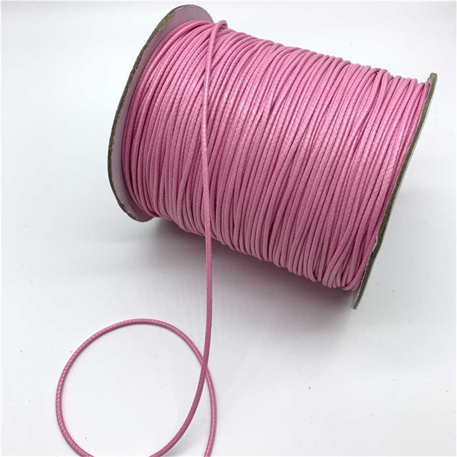 0.5mm 0.8mm 1mm 1.5mm 2mm Pink Waxed Cotton Cord Waxed Thread Cord String Strap Necklace Rope For Jewelry Making