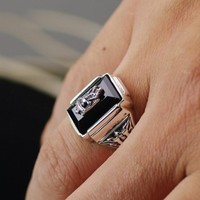 Thailand imports, black onyx cabochon hawks badge 925 Sterling Silver Ring