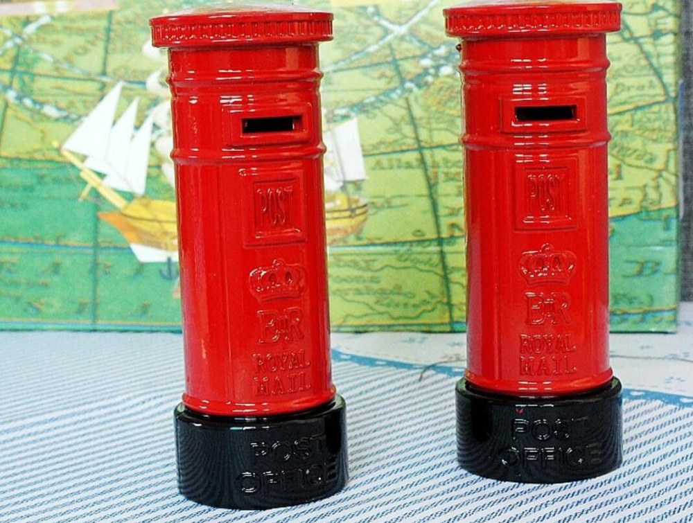 classic vintage retro London Royal mail post saving box hand-made craft metal model for home coffee bar ornaments decoration